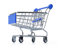 Blue shopping cart isolated on white background. File contains a path to isolation Stock Image