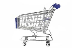 Blue Shopping Cart Isolated On White Stock Photo
