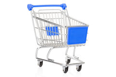 Blue shopping cart on white Royalty Free Stock Photography