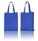 Blue shopping fabric bag Stock Images