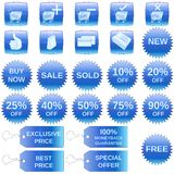 Blue shopping icons. A set of shopping icons, badges and tags Royalty Free Stock Image