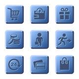 Blue Shopping Icons Set. Vector Stock Photo
