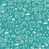 Blue shopping pattern Royalty Free Stock Image