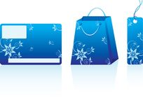 Blue shopping set Stock Photo