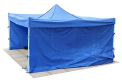 Blue short canvas no name tents is installed on the old city gr royalty free stock photos