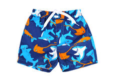 Blue shorts for swimming. On a white background isolated Stock Images