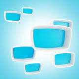 Blue showcase boxes glossy and plastic. As abstract background Stock Images
