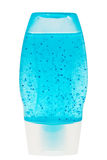 Blue shower gel in plastic transparent container. Royalty Free Stock Image
