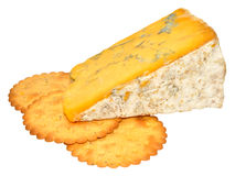 Blue Shropshire Cheese. Traditional English blue Shropshire cheese and biscuits, isolated on a white background Stock Photography