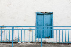 Blue shutter. Closed shutter in Crete Island, Greece Stock Images