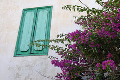 Blue shutter at Lesvos greece Royalty Free Stock Images