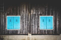 Blue shutters Stock Photo