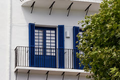 Blue shutters in Cadaques. The blue shutters in Cadaques royalty free stock image