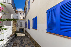 Blue shutters in Cadaques. The blue shutters in Cadaques stock photos