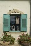 Blue shutters in Zihron Yaakov Stock Images