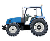 Blue side tractor. Blue tractor a side view on white background stock illustration