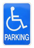 Blue Sign. Handicapped parking sign cut-out on white background Stock Photo