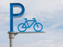 Blue sign bicycle parking Royalty Free Stock Photos