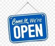 Free Blue Sign Come In We Are Open Stock Photo - 152060460