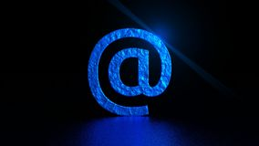 Blue At sign with flare on black background. Email. Graphic illustration. 3d rendering. Digital art of  `At` sign Stock Images