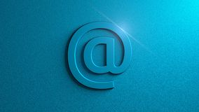 Blue At sign with flare on blue background. Email. Graphic illustration. 3d rendering. Digital art of  `At` sign Royalty Free Stock Images