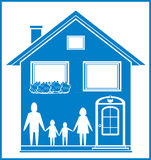 Blue sign with home and family Royalty Free Stock Image