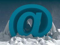 Blue at sign icon on low poly surface Royalty Free Stock Photo