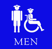 The blue sign for the Men's restroom. The sign for the Men's restroom Royalty Free Stock Image