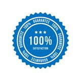 Blue sign 100 percent satisfaction guarantee. Flat vector illustration EPS 10.  stock illustration