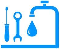 Blue sign plumbing work Stock Photos