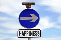Blue sign points the way to happiness. Blue sign with arrow points the direction to happiness Stock Image