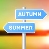 Blue sign post with directional arrows, summer Royalty Free Stock Image