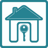 Blue sign with silhouette house and key. Blue sign of real estate with silhouette house door and key Royalty Free Stock Photography