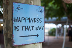 Blue sign with the text `Happiness is that way`. Sign with the text `Happiness is that way Royalty Free Stock Image