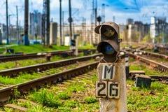 Blue signal railway semaphore royalty free stock image