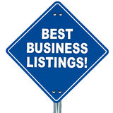 Best business listings. Blue signboard with text best business listings, white background, concept of listing business online Royalty Free Stock Images