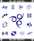 Blue Signs Set Vector, Easily Editable. Royalty Free Stock Photos