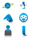 Blue signs and symbols set Royalty Free Stock Image