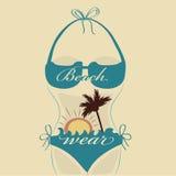 Blue silhouette of a bikini Stock Images