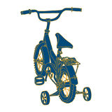 Blue silhouette of a child's Bicycle with yellow. Blue silhouette of a child's Bicycle with a yellow outline on white background stock illustration
