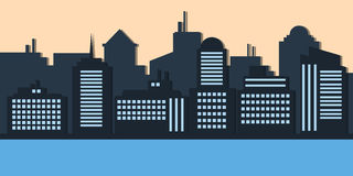 Blue silhouette of city evening creative style. Vector Illustration of architectural buildings Stock Photography