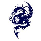 Blue silhouette of a fighting dragon, on white background,. Vector Stock Photography