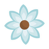 Blue silhouette figure flower icon floral. Vector illustration Stock Photos