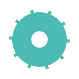 Blue silhouette gear wheel icon Stock Images