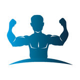 Blue silhouette half body muscle man. Vector illustration Royalty Free Stock Photography