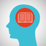 Blue silhouette head open book icon design Royalty Free Stock Image
