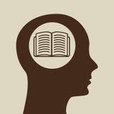 Blue silhouette head open book icon design Stock Photos