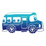 Blue silhouette kawaii happy school bus transport. Vector illustration Royalty Free Stock Images