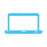 Blue silhouette of laptop and white background. Vector illustration Stock Photos