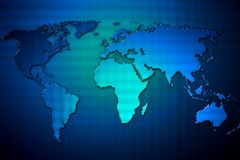 Blue silhouette of a map of the world. Stock Photos